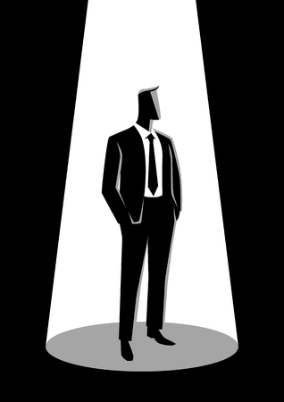 Business illustration of a businessman in formal suit standing with his hands in his pocket