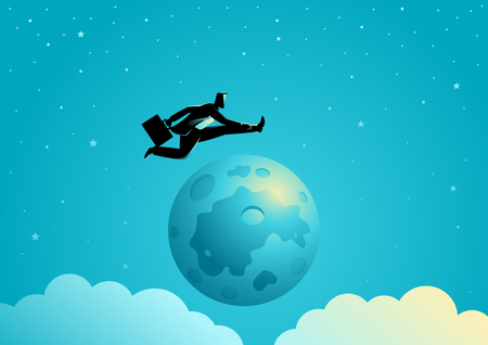 Business concept illustration of a businessman jumping over the moon