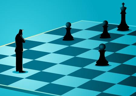 Business-Konzept Illustration eines Geschäftsmannes stehen, während Denken auf Schachbrett, Business-Idiom für Spiel-Plan Standard-Bild - 80446359