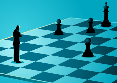 Business concept illustration of a businessman standing while thinking on chessboard, business idiom for game plan
