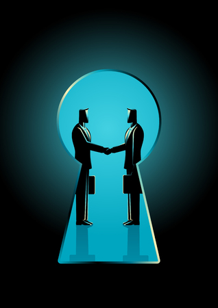 Business concept illustration of two businessmen shaking hands seen through a keyhole, business idiom for backroom deal