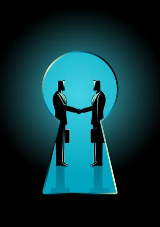Ejemplo del concepto del negocio de dos hombres de negocios que sacuden las manos visto a través de un ojo de la cerradura, idioma del negocio para la oferta del backroom