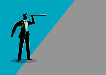 Business concept illustration of a businessman using telescope looking into gray area Ilustrace
