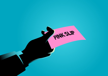 Business illustration of a hand giving a pink slip