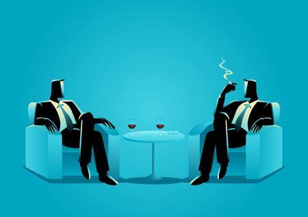 Bedrijfsillustratie van twee zakenlieden die op bank zitten