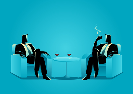 Business illustration of two businessmen sitting on sofa