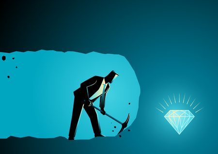 Business concept illustration of a businessman digging and mining to find treasure Ilustrace