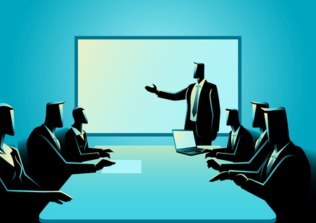Business illustration of business people having a meeting