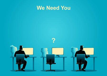2 人が空の机一つでコンピューターの作業のビジネス コンセプト イラスト。仕事の欠員、新規採用、研修生、職業、仕事検索のテーマ