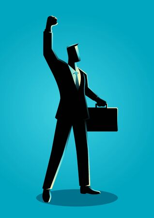 Business illustration of a confident businessman raising his right arm