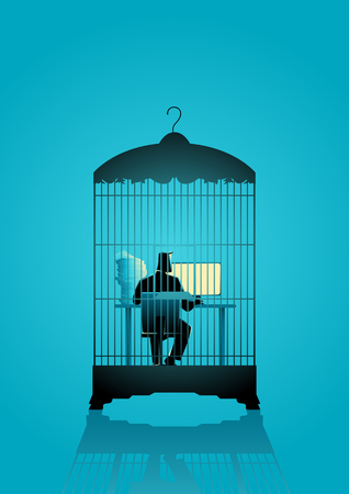 Business concept illustration of a businessman working on computer in the bird cage