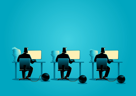 Business concept illustration of businessmen working on computers chained into iron ball 일러스트