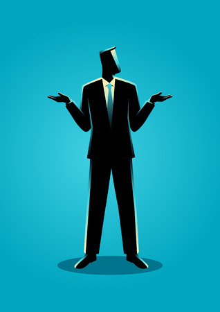 Illustration of a businessman shrugging shoulders gesturing who cares or I don't know body language