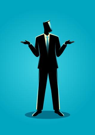 Ilustración de un hombre de negocios encogiéndose de hombros gesticulando a quién le importa o no sé lenguaje corporal