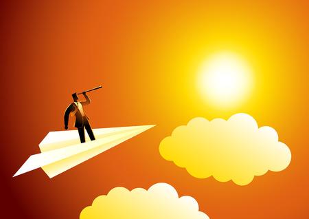 business concetto illustrazione di uomo d'affari con il telescopio su aeroplano di carta, opportunità, la visione nel mondo degli affari