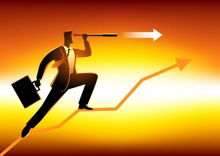 prospect: Silhouette of a businessman using telescope on graphic chart. Concept for forecast, prediction, success, planning in business