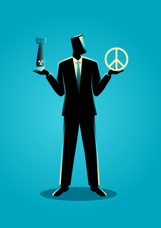 nuclear bomb: Graphic illustration of a man holding an atomic bomb on his right hand and a peace symbol on his left hand