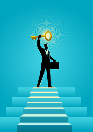 Business concept illustration of a businessman holding a golden key on top of stairs Illustration