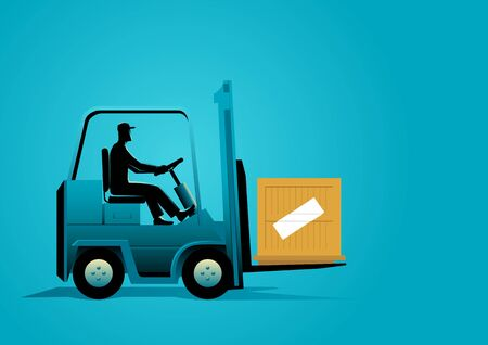 Graphic illustration of a man driving a forklift