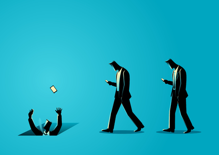 stupidity: Concept illustration of men with cellular phones, concept for ignorance, social media impact
