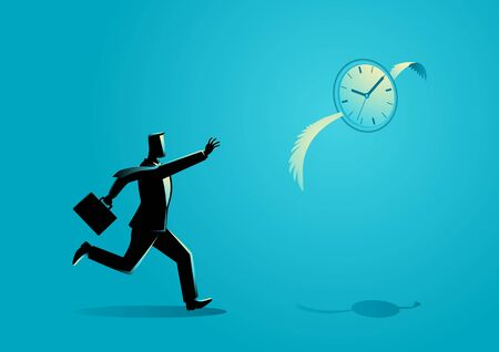 Business concept illustration of a businessman chasing a flying clock Illustration