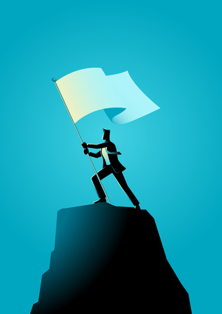 Business concept illustration of a businessman holding a flag on top of rock