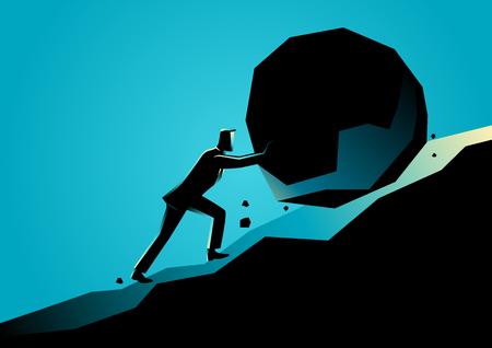 Illustration de concept d'affaires d'un homme d'affaires en poussant une grosse pierre en montée Banque d'images - 85162496