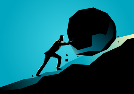 Business concept illustration of a businessman pushing large stone uphill Vectores