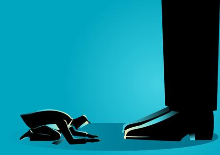 Concepto de negocio ilustración de un hombre de negocios arrodillarse bajo pies gigantes. Concepto de autoridad, figura del dictador