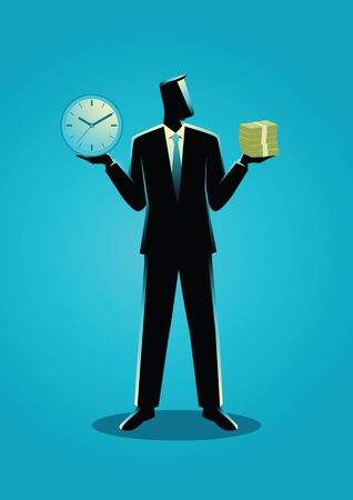 Business concept illustration of a businessman holding a clock in his right hand and stack of bank notes on his left hand