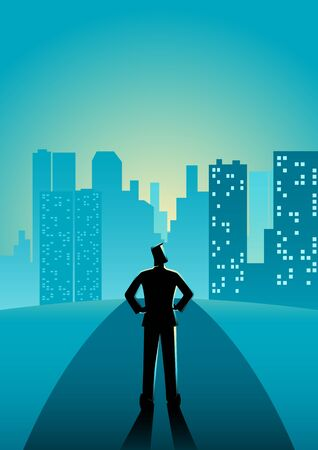 Business concept illustration of a man standing on the street Illustration