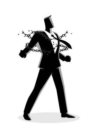 Businessman breaking chains
