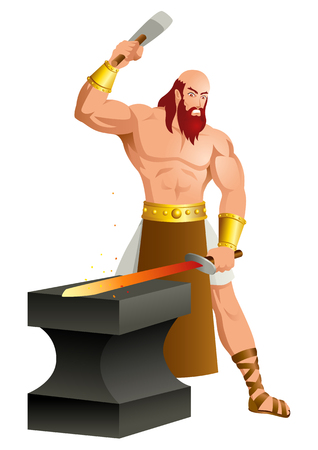 Greek god and goddess vector illustration series, Hephaestus, the god of fire, metalworking, stone masonry, forges and the art of sculpture.