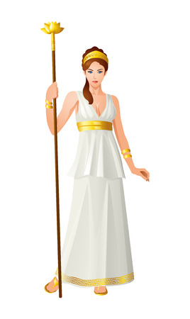 Dios griego y diosa serie de ilustración vectorial, Hera, la esposa y una de las tres hermanas de Zeus en el panteón olímpico de la mitología griega clásica.