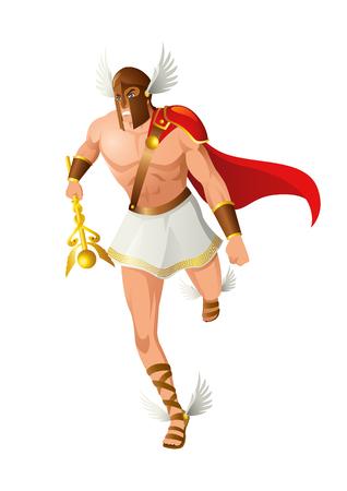 Griekse god en godin vectorillustratiereeks, Hermes, de afgezant en de boodschapper van de goden.