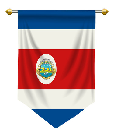 Costa Rica flag or pennant isolated on white background. Ilustração