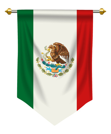 Mexico flag or pennant isolated on white background. Illustration