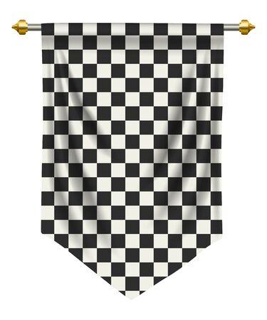 Rennende vlag of wimpel op witte achtergrond wordt geïsoleerd die. Vector Illustratie