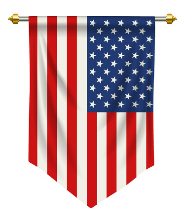 United States Of America flag or pennant isolated on white background.