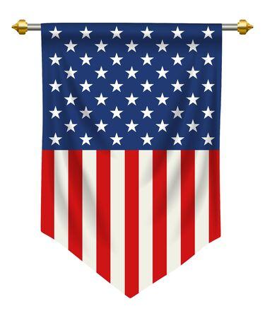 Bandera o banderín de los Estados Unidos de América aislada en el fondo blanco.