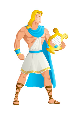 Dios griego y la diosa serie de ilustración vectorial, Apolo, el Dios de la música, la verdad y la profecía, la curación, el sol y la luz, la peste, la poesía y más. Ilustración de vector