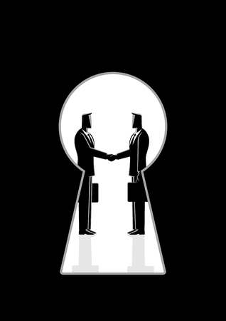 Business concept of two man shaking hands. Illusztráció