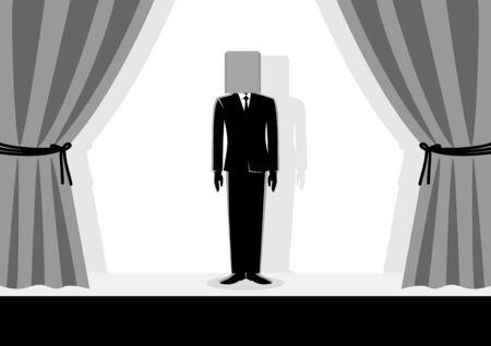 Business concept vector illustration of a businessman wearing paper bag on his head on the stage, embarrassment, ashamed, bad performance, failure concept.