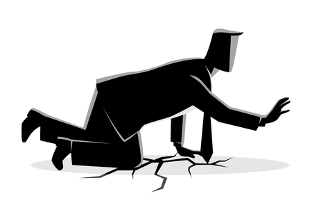 Bedrijfsconcepten vectorillustratie van een zakenman die op barstland kruipen.