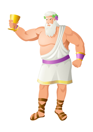 Greek god and goddess vector illustration series, Dionysus, the god of the grape harvest, winemaking and wine, of ritual madness, fertility, theatre and religious ecstasy in ancient Greek religion and myth. Stock Vector - 89544269