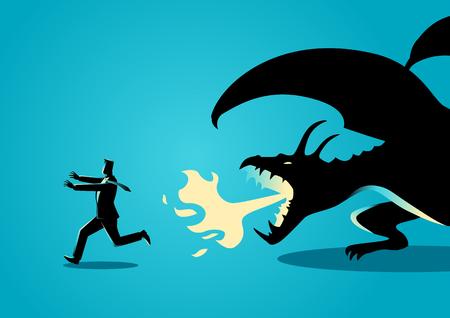 Geschäftskonzept-Vektorillustration eines Geschäftsmannes, der weg von einem Drachen läuft. Risiko, Angst vor Herausforderungen im Geschäftskonzept
