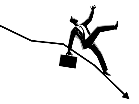Business concept vector illustration of businessman fall down on decreasing graphic chart, business failure, crisis concept Vectores