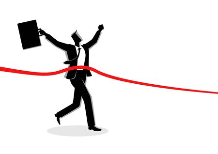 Business concept vector illustration of running businessman at finish line, concept for success, competition in business
