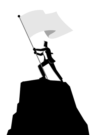 Business concept vector illustration of a businessman holding a flag on top of rock Иллюстрация