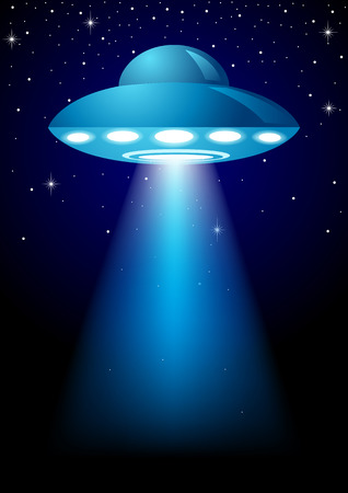 Unidentified Flying Object on dark background Vectores